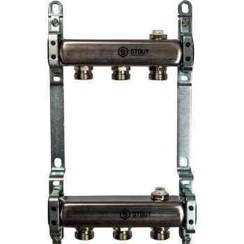Stout Коллектор из нержавеющей стали для радиаторной разводки 3 вых. SMS 0923 000003