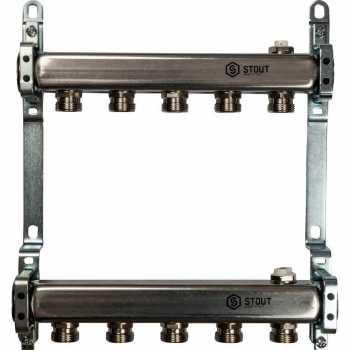 Stout Коллектор из нержавеющей стали для радиаторной разводки 5 вых. SMS 0923 000005