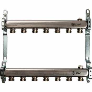 Stout Коллектор из нержавеющей стали для радиаторной разводки 7 вых. SMS 0923 000007