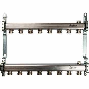 Stout Коллектор из нержавеющей стали для радиаторной разводки 8 вых. SMS 0923 000008