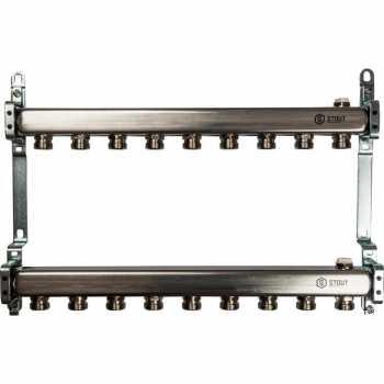 Stout Коллектор из нержавеющей стали для радиаторной разводки 9 вых. SMS 0923 000009