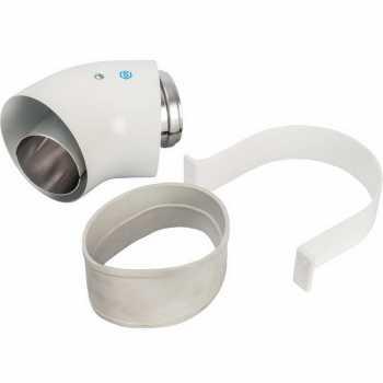 Stout Элемент дымохода отвод коаксиальный 45°  DN60/100, п/м уплотнения и хомут в комплекте (с логотипом) SCA-6010-000045