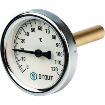 """Stout Термометр биметаллический с погружной гильзой. Корпус Dn 63 мм, гильза 75 мм 1/2"""" SIM-0001-637515"""