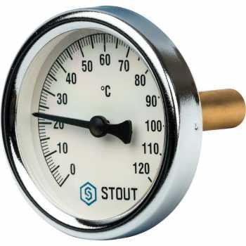 """Stout Термометр биметаллический с погружной гильзой. Корпус Dn 63 мм, гильза 50 мм, резьба с самоуплотнением 1/2"""" SIM-0003-635015"""