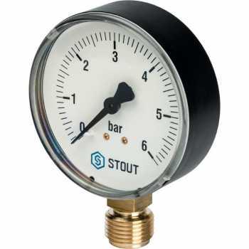 """Stout Манометр радиальный. Корпус Dn 80 мм 1/2"""" 6 Bar SIM-0010-800615"""