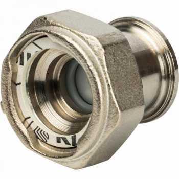 """Stout Разъемное соединение с плоским уплотнением и обратным клапаном, никелированное 1"""" SDG-0019-020025"""