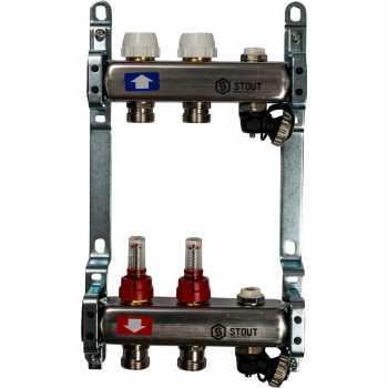 Stout Коллектор из нержавеющей стали с расходомерами, с клапаном вып. воздуха и сливом 2 вых. SMS-0927-000002