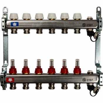 Stout Коллектор из нержавеющей стали с расходомерами, с клапаном вып. воздуха и сливом 6 вых. SMS-0927-000006