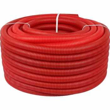 Stout Труба гофрированная ПНД, цвет красный, наружным диаметром 32 мм для труб диаметром 25 мм, длина 50 м SPG-0002-503225