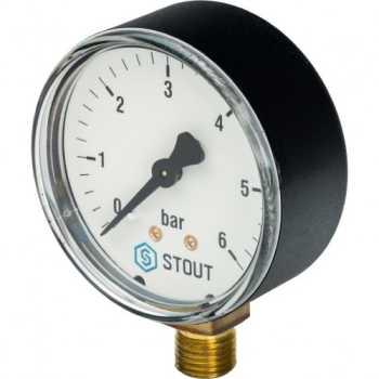 """Stout Манометр радиальный. Корпус Dn 63 мм 1/4"""" 6 Bar SIM-0010-630608"""