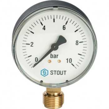 """Stout Манометр радиальный. Корпус Dn 80 мм 1/2"""" SIM-0010-801015"""