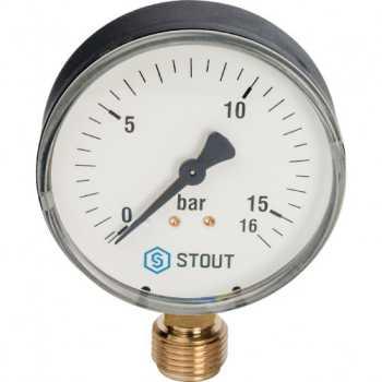 """Stout Манометр радиальный. Корпус Dn 80 мм 1/2"""" 16 Bar SIM-0010-801615"""
