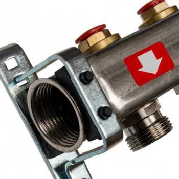 Stout Коллектор из нержавеющей стали без расходомеров, с клапаном вып. воздуха и сливом 2 вых. SMS-0932-000002