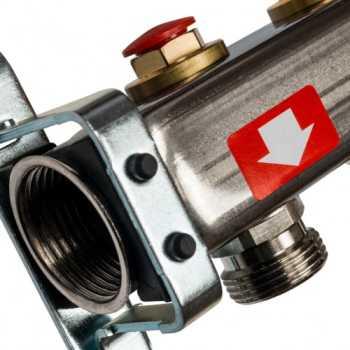 Stout Коллектор из нержавеющей стали без расходомеров, с клапаном вып. воздуха и сливом 3 вых. SMS-0932-000003