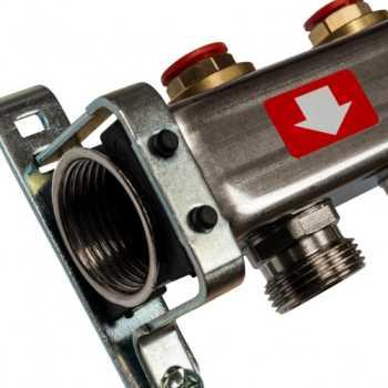 Stout Коллектор из нержавеющей стали без расходомеров, с клапаном вып. воздуха и сливом 5 вых. SMS-0932-000005