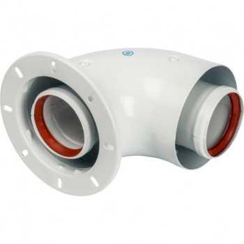 Stout Элемент дымохода DN60/100 адаптер для котла угловой 90° коаксиальный (совместимый с Bosch, Buderus)(с логотипом) SCA-6010-240190