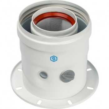 Stout Элемент дымохода DN60/100 адаптер для котла вертикальный коаксиальный (совместимый с Bosch, Buderus)(с логотипом) SCA-6010-240100