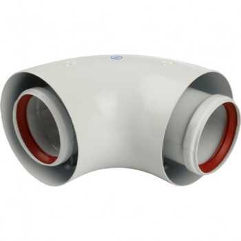 Stout Элемент дымохода DN60/100 адаптер для котла угловой 90° коаксиальный (совместимый с Baxi,Viessmann) SCA-6010-210190