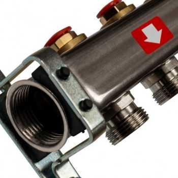 Stout Коллектор из нержавеющей стали без расходомеров, с клапаном вып. воздуха и сливом 6 вых. SMS-0932-000006