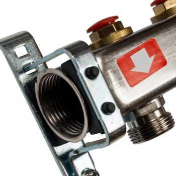 Stout Коллектор из нержавеющей стали без расходомеров, с клапаном вып. воздуха и сливом 7 вых. SMS-0932-000007