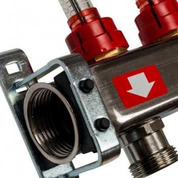 Stout Коллектор из нержавеющей стали с расходомерами, с клапаном вып. воздуха и сливом 7 вых. SMS-0927-000007