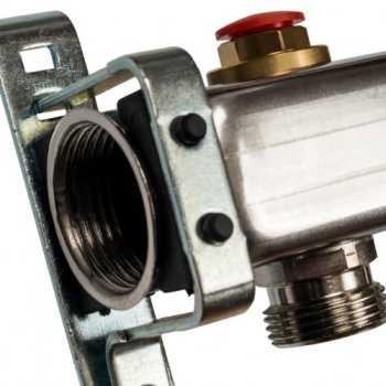 Stout Коллектор из нержавеющей стали без расходомеров, с клапаном вып. воздуха и сливом 8 вых. SMS-0932-000008