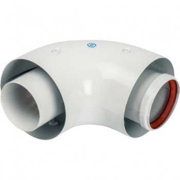Stout Элемент дымохода отвод коаксиальный 90°  DN60/100, п/м уплотнения и хомут в комплекте (с логотипом) SCA-6010-000090