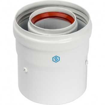 Stout Элемент дымохода DN60/100 адаптер для котла вертикальный коаксиальный ((совместимый с Baxi,Viessmann)(с логотипом) SCA-6010-210100