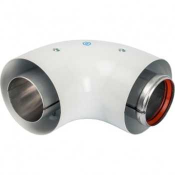 Stout Элемент дымохода DN60/100 адаптер для котла угловой 90° коаксиальный (совместимый с Vaillant, Protherm NEW)(с логотипом) SCA-6010-230190