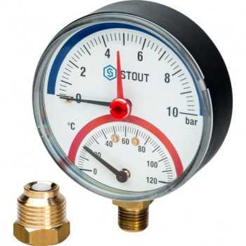 """Stout Термоманометр радиальный в комплекте с автоматическим запорным клапаном. Корпус Dn 80 мм 1/2"""" 10 Bar SIM-0006-801015"""