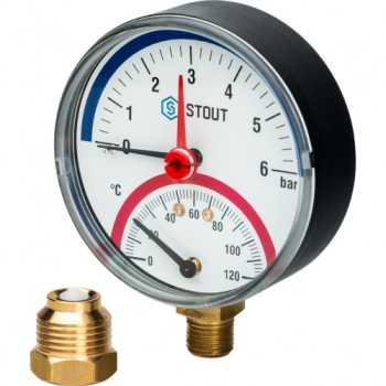 """Stout Термоманометр радиальный в комплекте с автоматическим запорным клапаном. Корпус Dn 80 мм 1/2"""" 6 Bar SIM-0006-800615"""