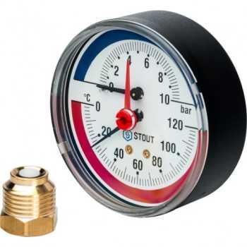 """Stout Термоманометр аксиальный в комплекте с автоматическим запорным клапаном. Корпус Dn 80 мм 1/2"""" 10 Bar SIM-0005-801015"""