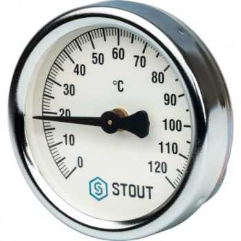 Stout Термометр биметаллический накладной с пружиной. Корпус Dn 63 мм SIM-0004-630015