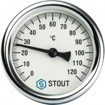 """Stout Термометр биметаллический с погружной гильзой. Корпус Dn 63 мм, гильза 50 мм 1/2"""" 120  SIM-0001-635015"""