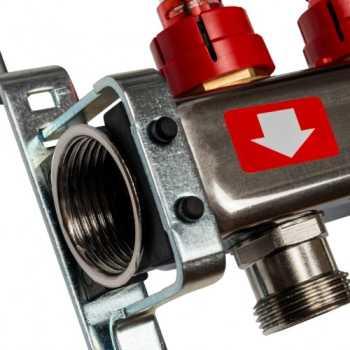 Stout Коллектор из нержавеющей стали с расходомерами, с клапаном вып. воздуха и сливом 3 вых. SMS-0927-000003