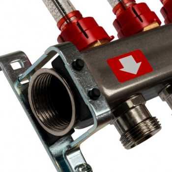 Stout Коллектор из нержавеющей стали с расходомерами, с клапаном вып. воздуха и сливом 4 вых. SMS-0927-000004