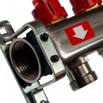 Stout Коллектор из нержавеющей стали с расходомерами, с клапаном вып. воздуха и сливом 5 вых. SMS-0927-000005