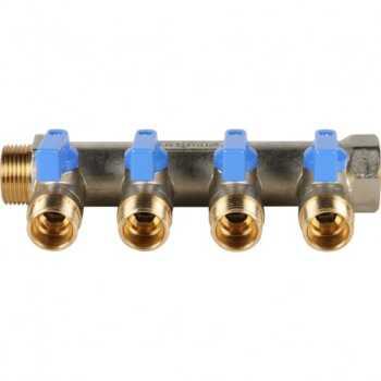 """Stout Коллектор с шаровыми кранами 3/4"""", 4 отвода 1/2"""" (синие ручки) SMB 6201 341204"""