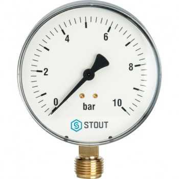 """Stout Манометр радиальный. Корпус Dn 100 мм 1/2"""" 6 Bar SIM-0010-101015"""