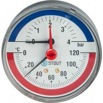 """Stout Термоманометр аксиальный в комплекте с автоматическим запорным клапаном. Корпус Dn 80 мм 1/2"""" 4 Bar SIM-0005-800415"""