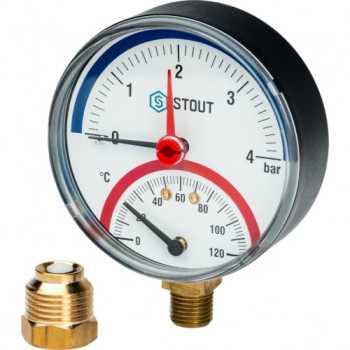 """Stout Термоманометр радиальный в комплекте с автоматическим запорным клапаном. Корпус Dn 80 мм 1/2"""" 4 Bar SIM-0006-800415"""