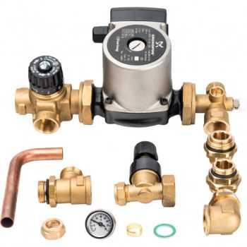Stout Насосно-смесительный узел с термостатическим клапаном и байпасом; Grundfos UPSO 25-65 130 SDG-0020-002002