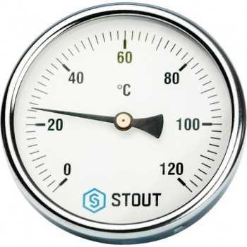 """Stout Термометр биметаллический с погружной гильзой. Корпус Dn 100 мм, гильза 50 мм 1/2"""" SIM-0001-105015"""