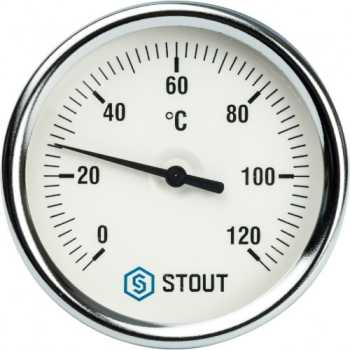 """Stout Термометр биметаллический с погружной гильзой. Корпус Dn 80 мм, гильза 75 мм 1/2"""" SIM-0001-807515"""