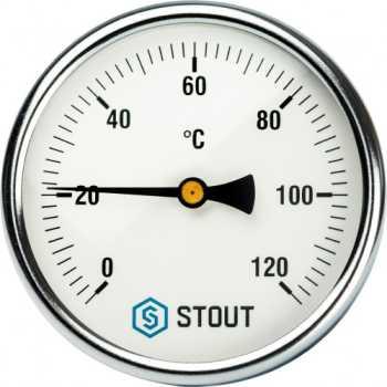 """Stout Термометр биметаллический с погружной гильзой. Корпус Dn 100 мм, гильза 75 мм 1/2"""" SIM-0001-107515"""